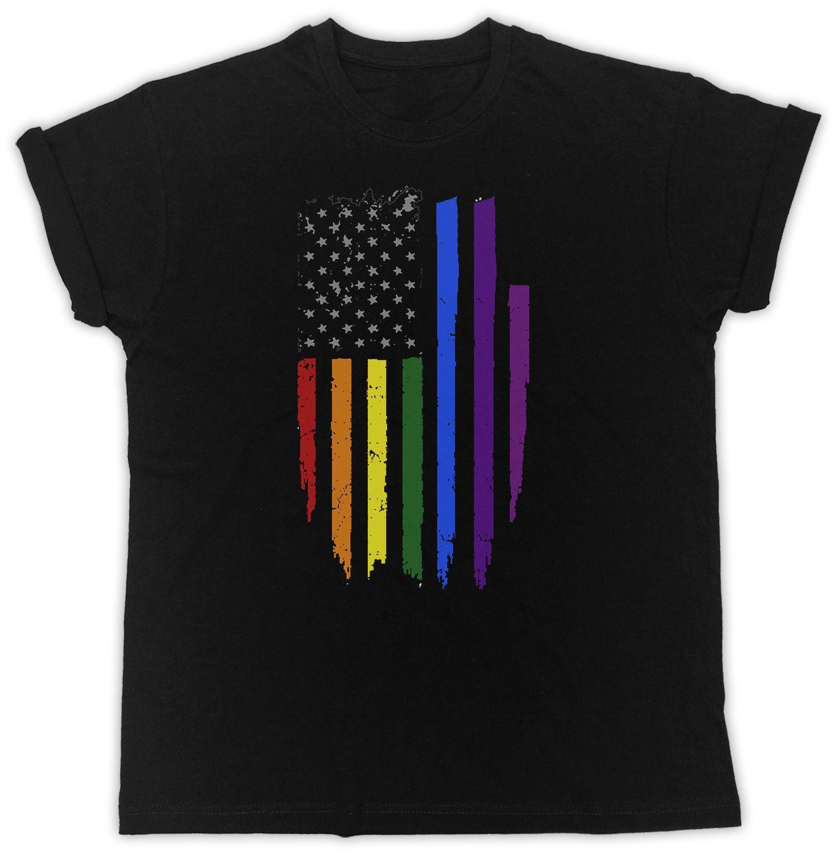 Гей Прайд Американский Флаг Радуга Слоган Идеальный Подарок Унисекс Черная Футболка