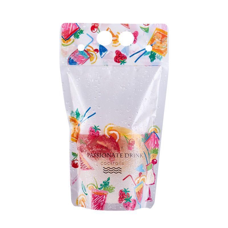500ml Wzór owoców Plastikowy Drink Packaging Bag Torebka na napoje Sok Kawa mleczna, z uchwytem i otworami do słomy LX0462