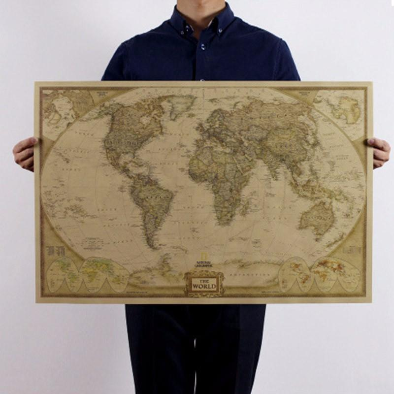 World Map Art Crafts Maps Wallpaper Large Retro Kraft Paper Paint Vintage Wall Sticker Poster Living Room 72*47cm
