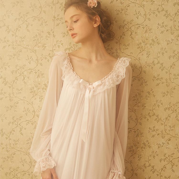 Принцесса ночная рубашка женщины лето с длинными рукавами пижамы ретро полупрозрачные кружева Sess Sexy Ice шелк пижамы плюс размер S1011