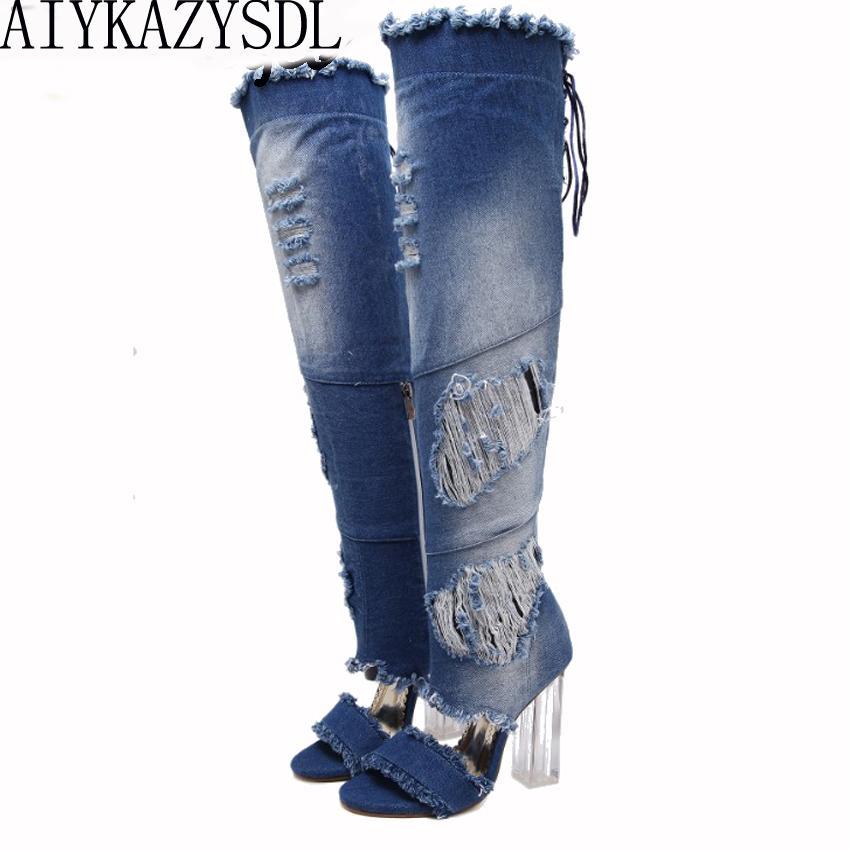 AIYKAZYSDL donne sopra il ginocchio coscia alta Denim Boots aperte davanti Trasparente Block Spessa Alta tacco Gladiator Sandals Shoes