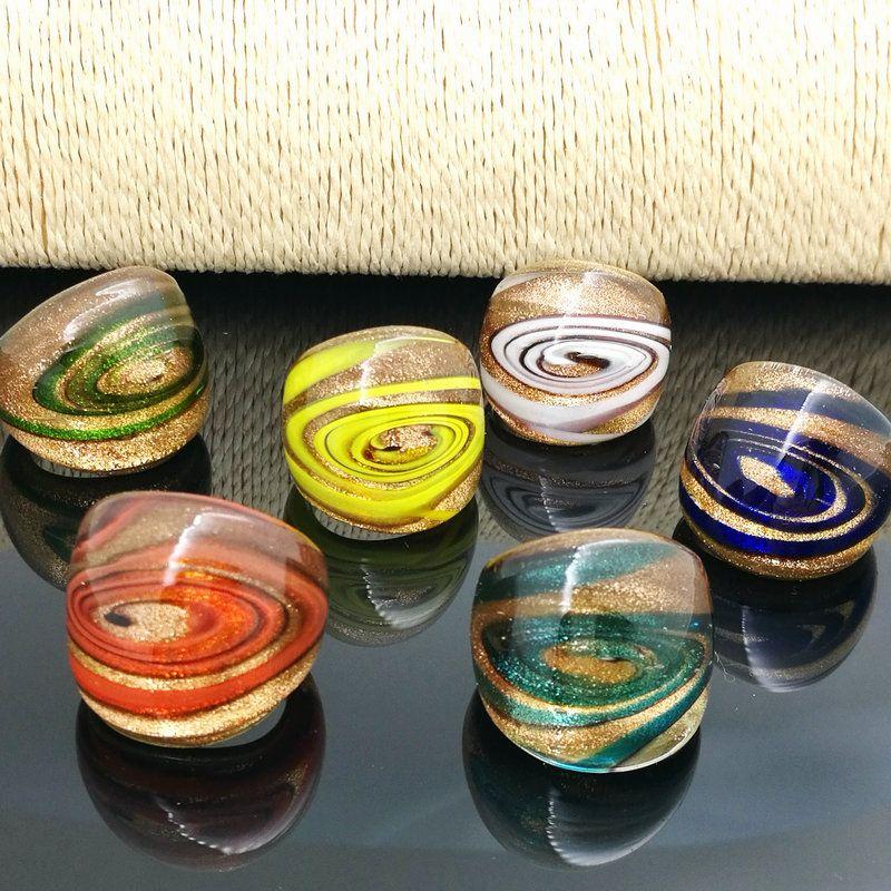 Freier Verschiffen-Großhandelsheißer 12pcs Punkt-Lampwork GlasMurano Ring, Art und WeiseMurano Ring 17-19mm