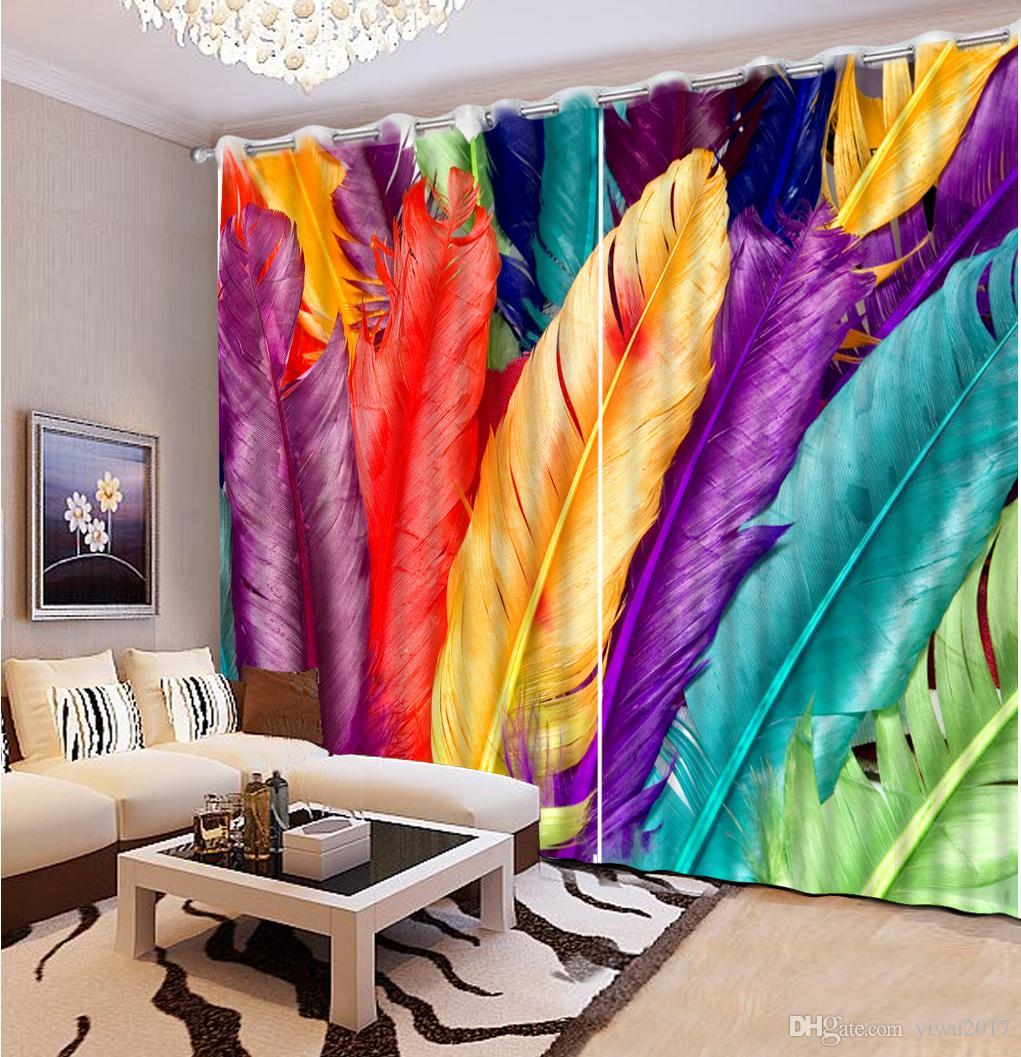 tende 3d stereoscopiche di lusso personalizzate per soggiorno Tende da finestra in cortina di piume ricamate di piume colorate