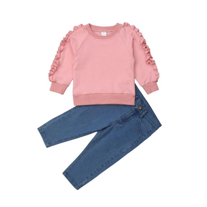 UK 2PCS Toddler Kids Baby Girls Ruffle Tops Denim Pants Winter Outfits Clothes
