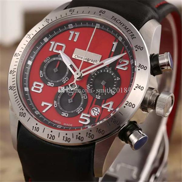 Heißer Verkauf Mann-Uhr für Mann Quarz Stoppuhr Herren Chronograph Uhren Edelstahl Armbanduhr Lederband f02
