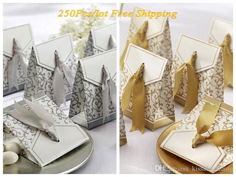 Düğün ve Parti Favor Kutuları Altın ve Gümüş Kurdele Düğün Hediye Kutuları Düğün Dekorasyon Için 250 adet / grup