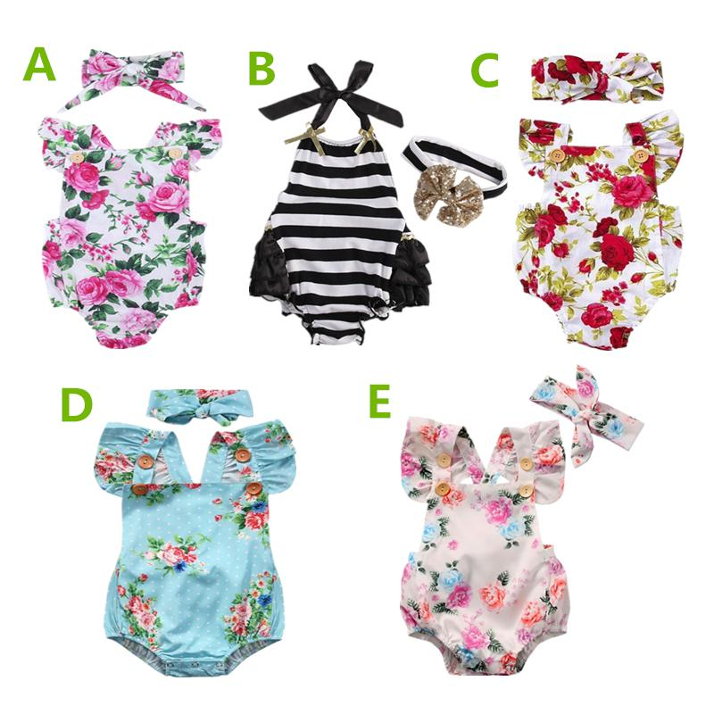 Newborn baby girl clothes summer flower romper jumpsuit onesies +headband 2pcs kid clothing boutique outfits babies girls toddler 0-24M