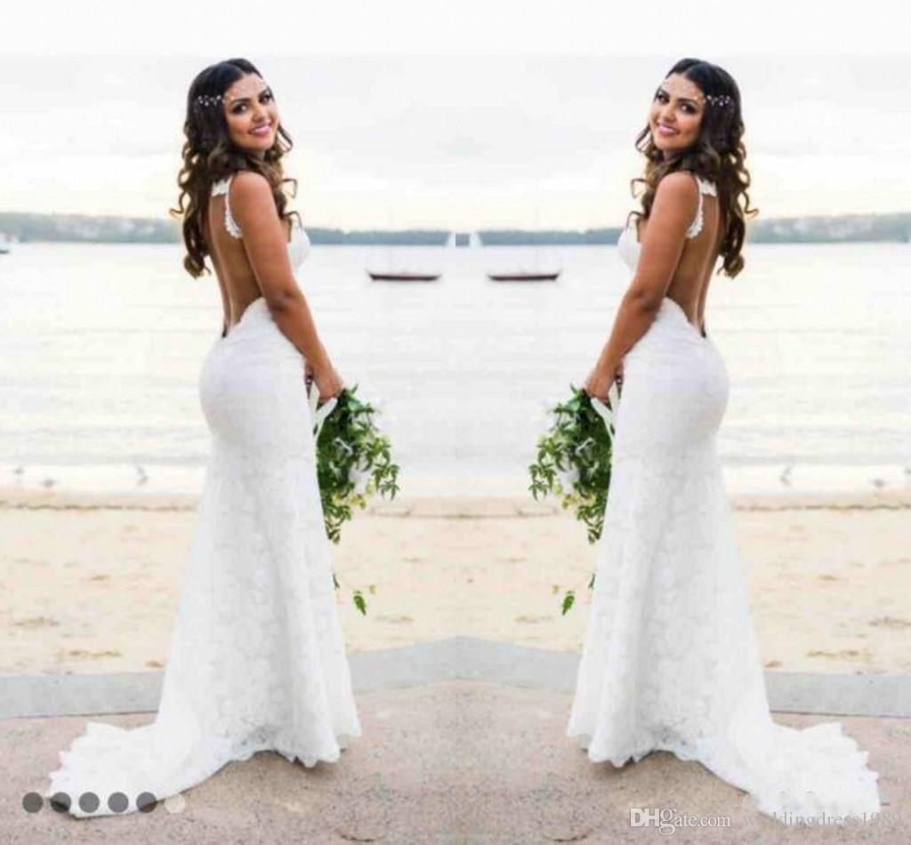 Sexy Spaghetti Mermaid Lace Garden Beach Wedding Dress Backless Open Back 2018 Fitted Country Bridal Gown Bride Dress New Arrival Custom Princess Wedding Dresses Red Wedding Dresses From Weddingdress1989 92 47 Dhgate Com,Wedding Dresses Toronto Plus Size