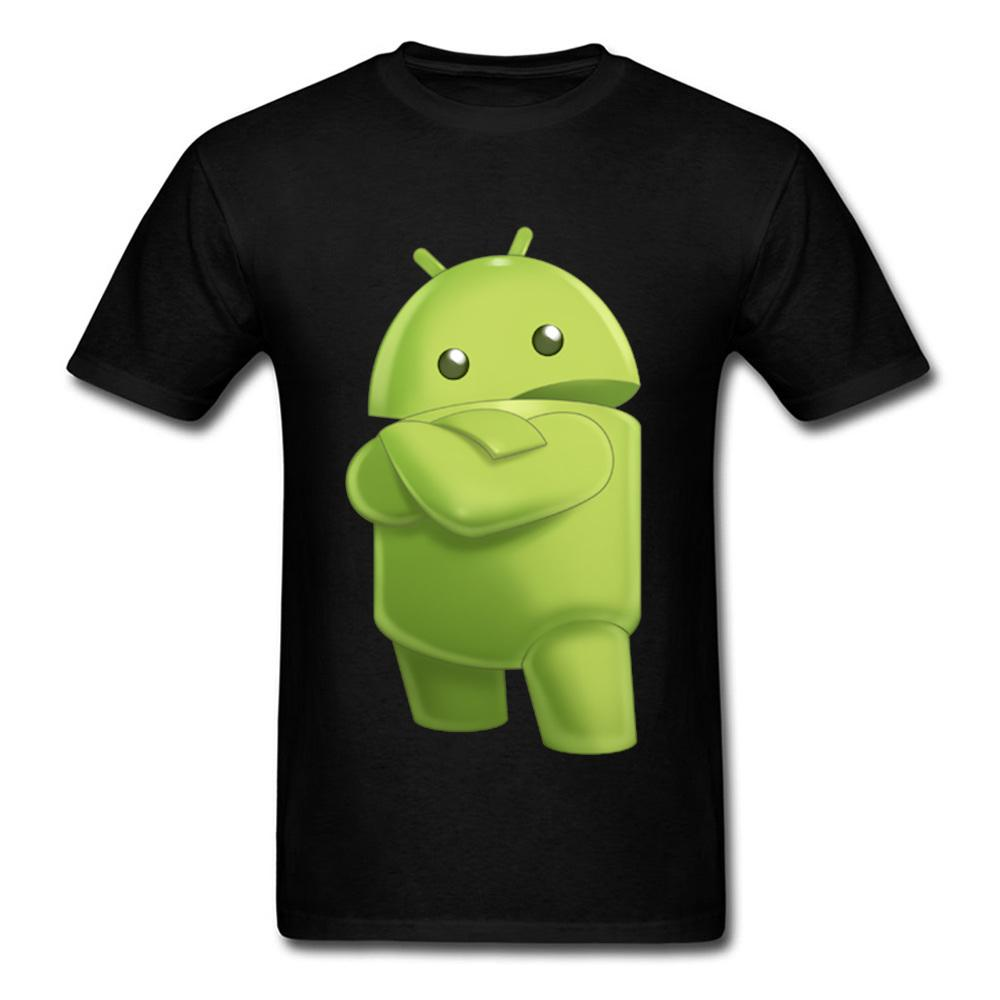 2018 Funny Robot Print Men T-shirt Fashion Black Tee Shirt 3D Cartoon Design Familiar Casual Tops de algodón personalizadas