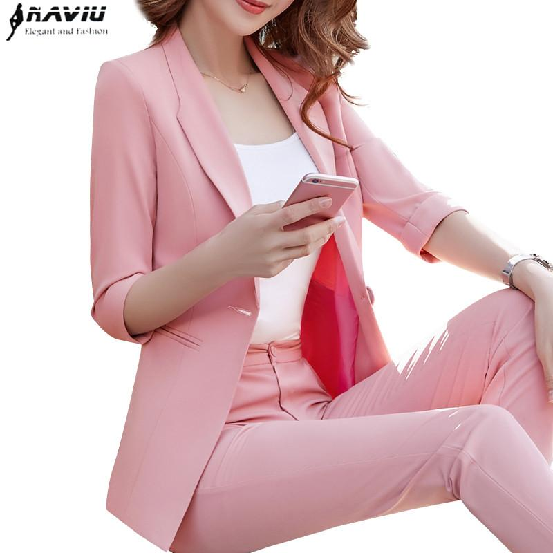 2018 Yeni bayanlar mizaç moda pantolon takım elbise sonbahar yarım kollu ince blazer ve pantolon ofis bayanlar artı boyutu iş elbisesi