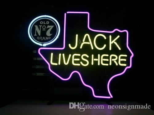 New Jack Daniel/'s Old No #7 Whiskey REAL GLASS NEON SIGN BEER BAR PUB LIGHT