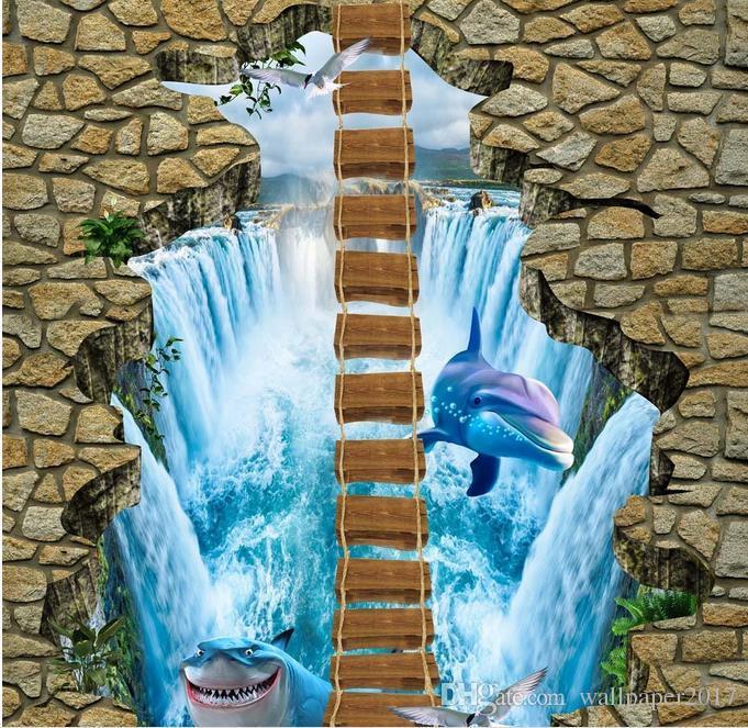 PVC Waterproof self-adhesive Wallpaper Waterfall shark rope bridge 3D three-dimensional outdoor floor painting