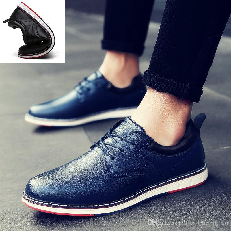 Luxury men's shoes new men's dress casual shoes fashion wild black brown flat business leather dress shoes Lightweight non-slip