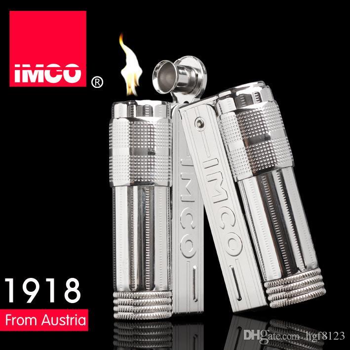 (새로운 라이터 연료 없음) 빈티지 정품 IMCO 6700 라이터 스테인레스 스틸 구형 가솔린 라이터, 남성용 담배 라이터
