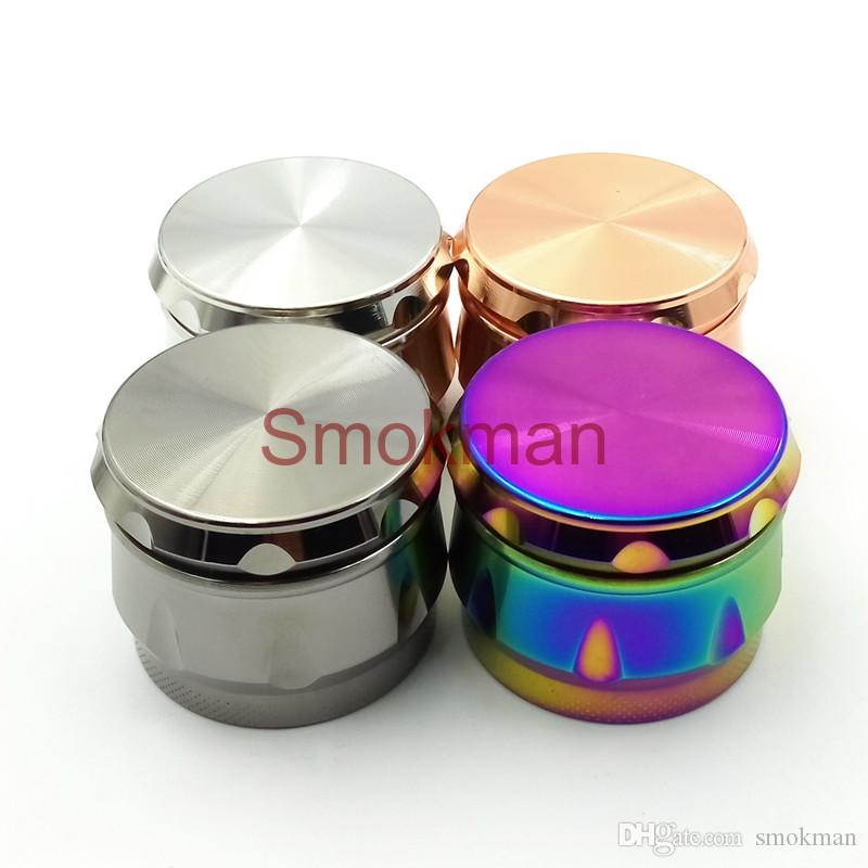 High Quality Rainbow Chamfer Herb Grinder Drum Shape 4 Layers 40mm Diameter Color Zinc Alloy Tobacco Crusher Metal Grinders OEM logo