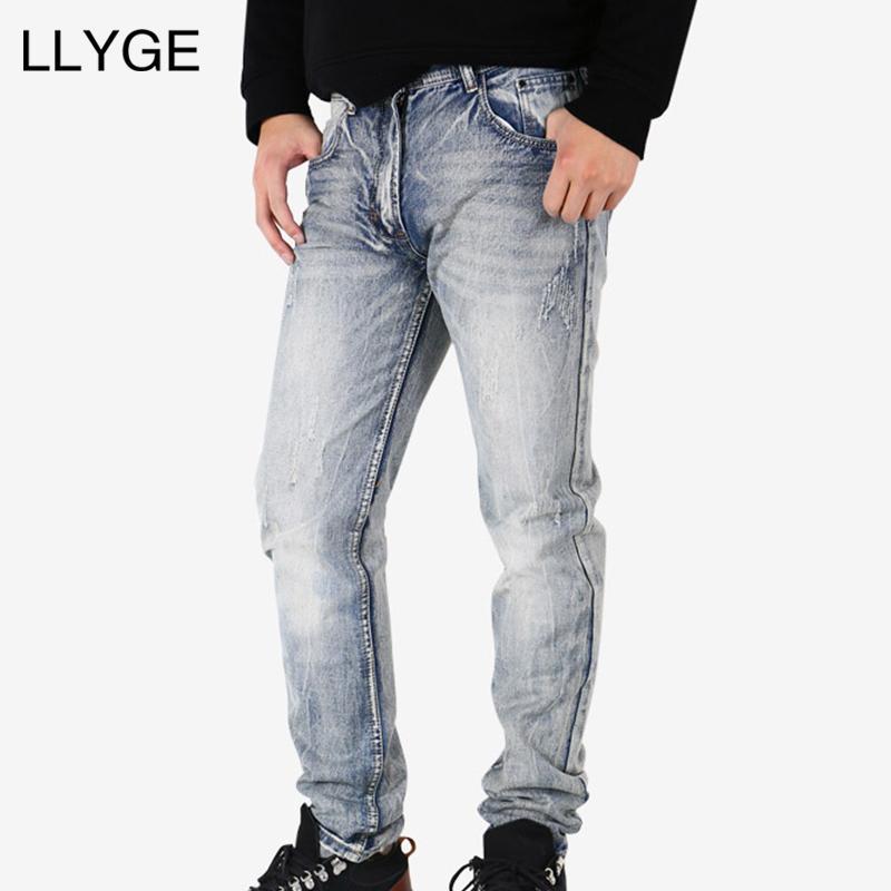 LLYGE Erkekler Gri Kot 2018 Bahar Slim Fit Hip Hop Strech Denim Jeans Erkekler Moto Biker Ekstra Slim Fit Ripped Dropshipping
