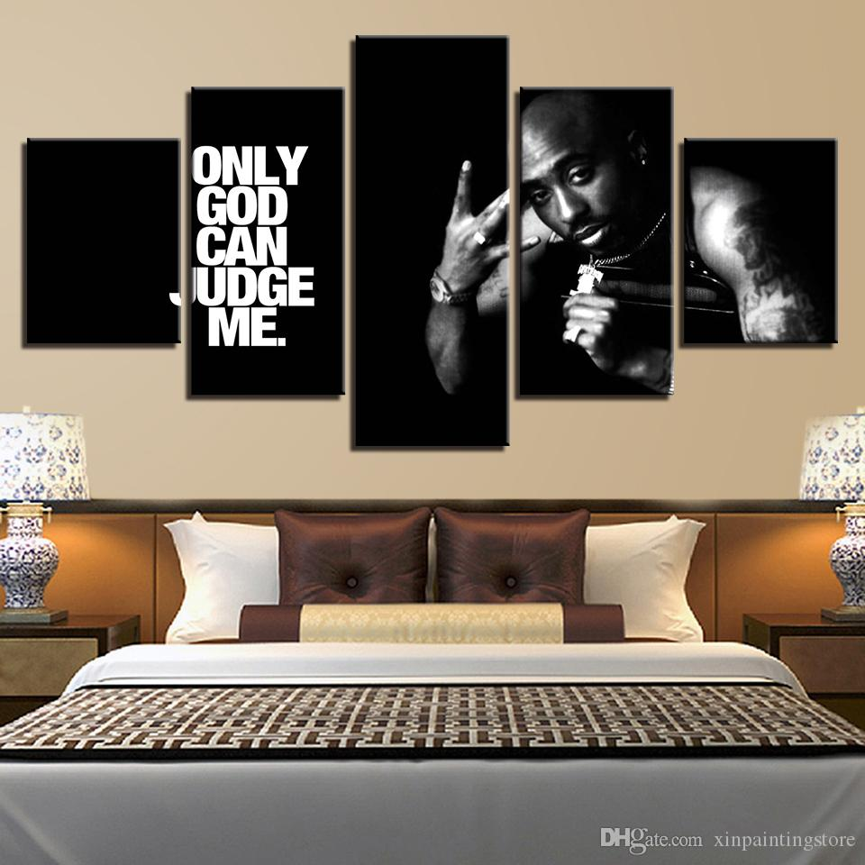 2 Pac only god can judge me rapper Art HD Print 5 Pcs canvas painting pictures living room wall art cuadros decorative