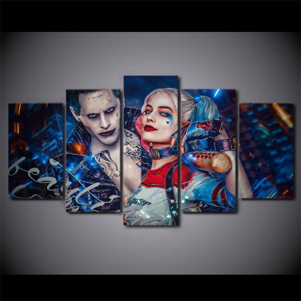 HD картина стены искусства украшения дома плакаты модульные искусства 5 панель фильм Джокер гостиная печатается современный на холсте живопись