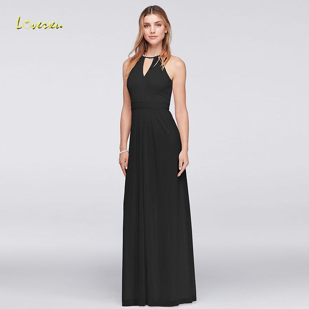 venta al por mayor Vestido De Festa Longo O Neck Beach vestidos de dama de honor 2018 piso de longitud Crystal Chiffon Wedding Party Dress más el tamaño