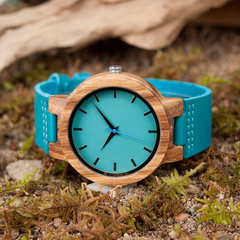 BOBO 100% abanoz Klasik ahşap Saat Mavi Deri Kuvars Lüks Saatler Erkekler Kadınlar için Hediyeler Kutusu Özelleştirme OEM Bilek İzle