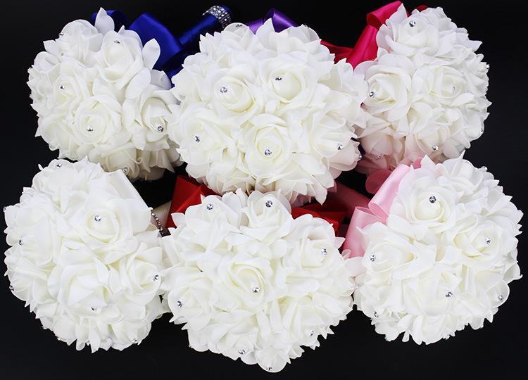 2018 Elegante Rose Künstliche Brautblumen Brautstrauß Hochzeitsstrauß Kristall Royal Blue Silk Ribbon Neue Buque De Noiva 10 Farben
