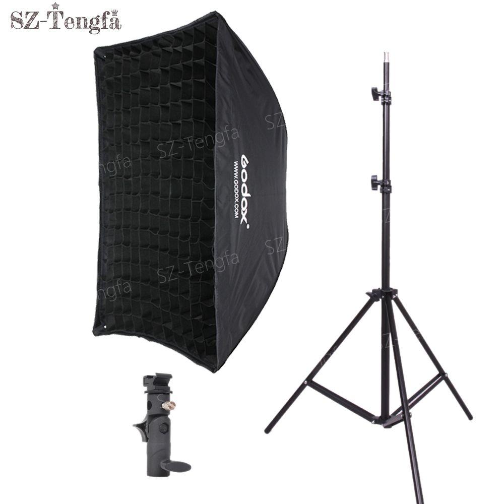 Оптовая 60x90cm СОТа сетки зонтик софтбокс горячий башмак кронштейн свет стенд комплект для фонарик Speedlite
