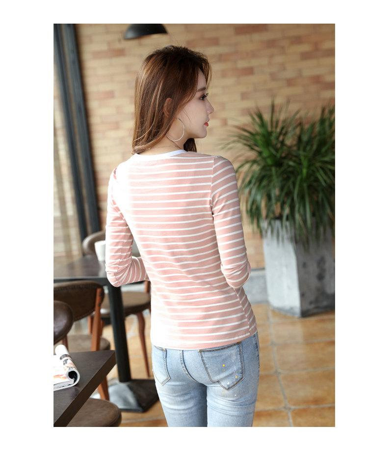Autumn Winter Striped T-shirt Women Casual Plus Size Tops Tees Femme Long Sleeve Women Cotton Tshirt Camisetas Mujer 2019 (5)