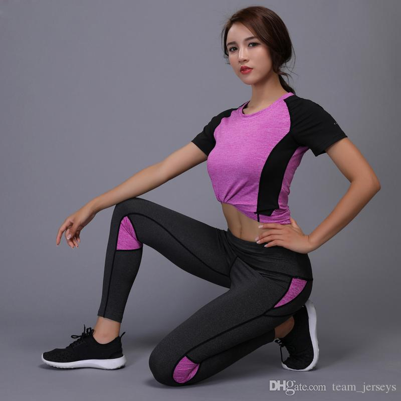 2 Pieces Women Yoga Set Fitness Gym Clothes Running Tennis Shirt + Pants Yoga Leggings Jogging Workout Sport Suit Sportswear Cheap Fashion