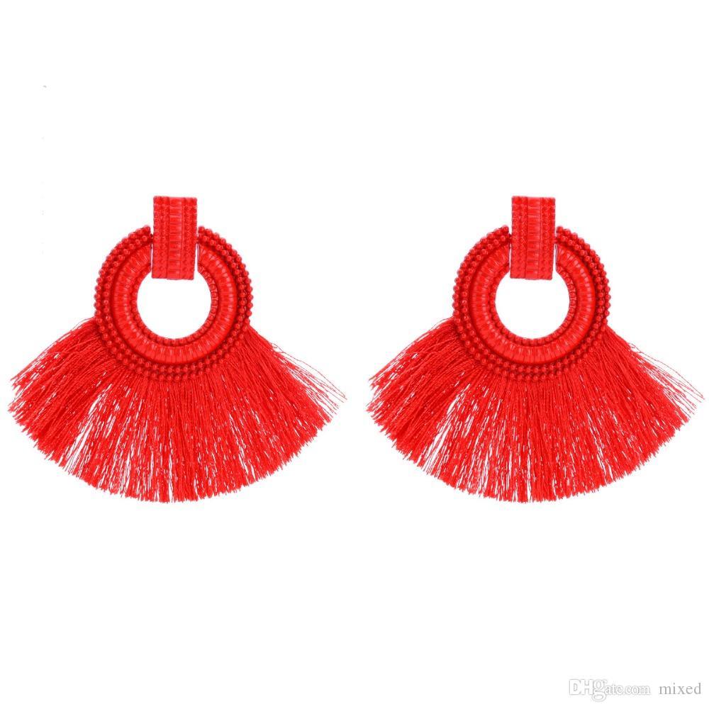 Чешские большие серьги для женщин с кисточками большого размера Серьги 2018 года с бахромой макси этнические пляжные летние украшения