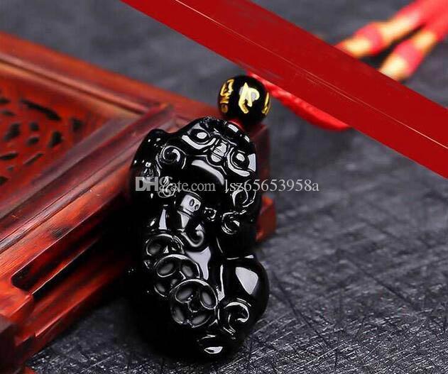 Der mythische wilde Tier Anhänger Obsidian, Männer und Frauen in Plutus Schicksal vermeidbare Halskette Kristall Anhänger C5