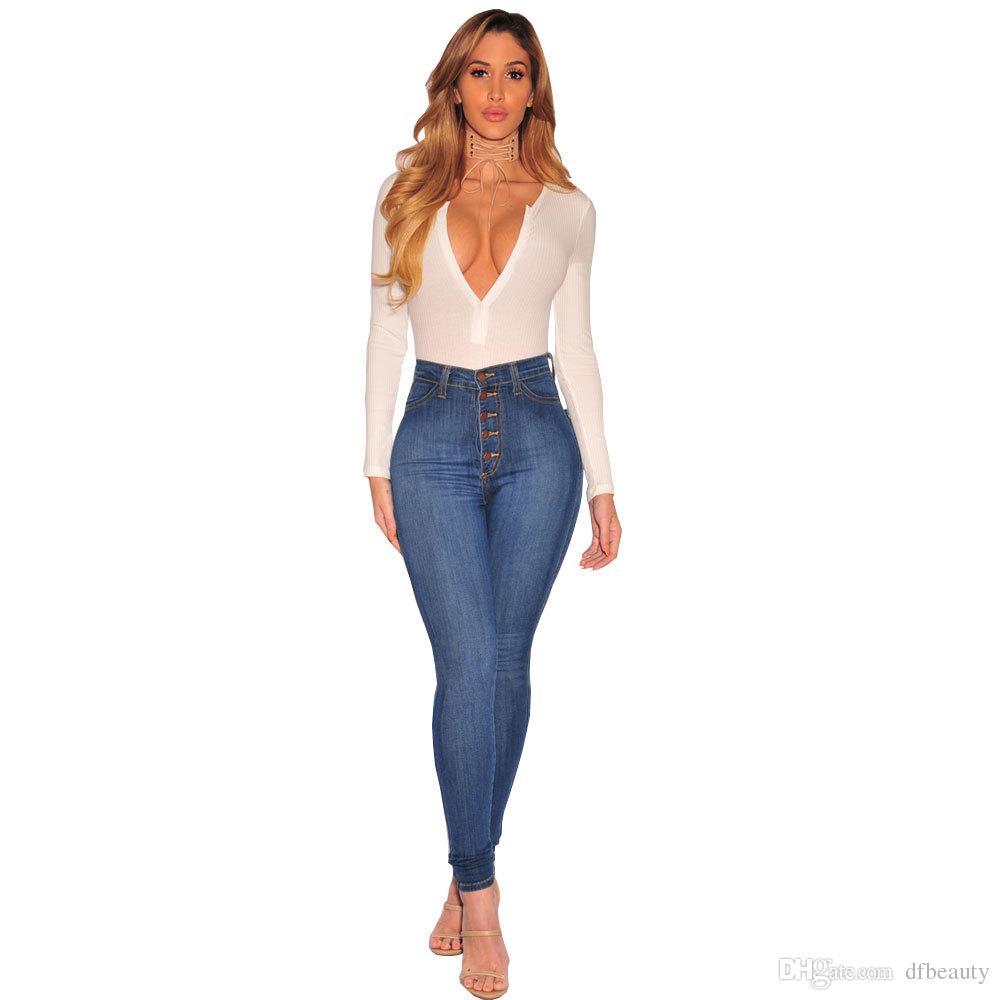 Alta Qualidade REAL FOTOS Sexy Jeans Skinny Buraco Womens Push up de Cintura Alta Slim Fit Calças Jeans Skinny Jeans Skinny Jeans Rasgado