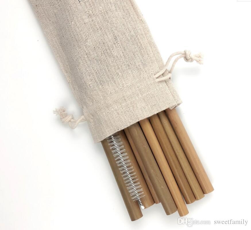 Bamboo Дружеские соломенные бамбуковые и соломинки многоразовые эко питьевые ручной работы натуральные питьевые 20 см / 23 см соломинки кисть чистка CMAEO