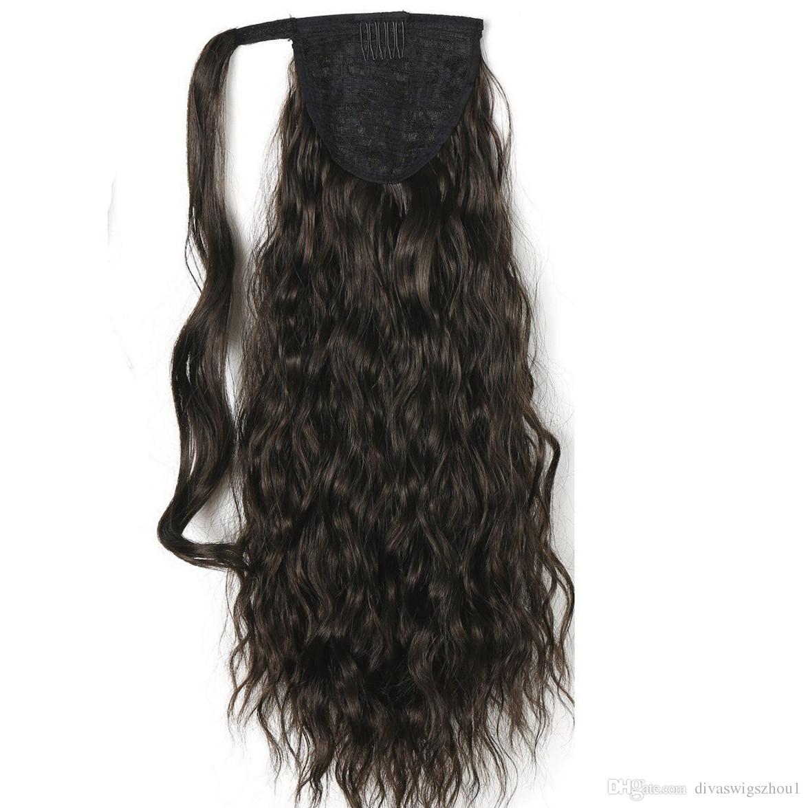 """120g Kinky Curly Ponytails 55CM, 22 """"Clip en extensión de cabello de cola de caballo BlackBrown Curly Horsetail Pony Tail cabello humano postizos"""