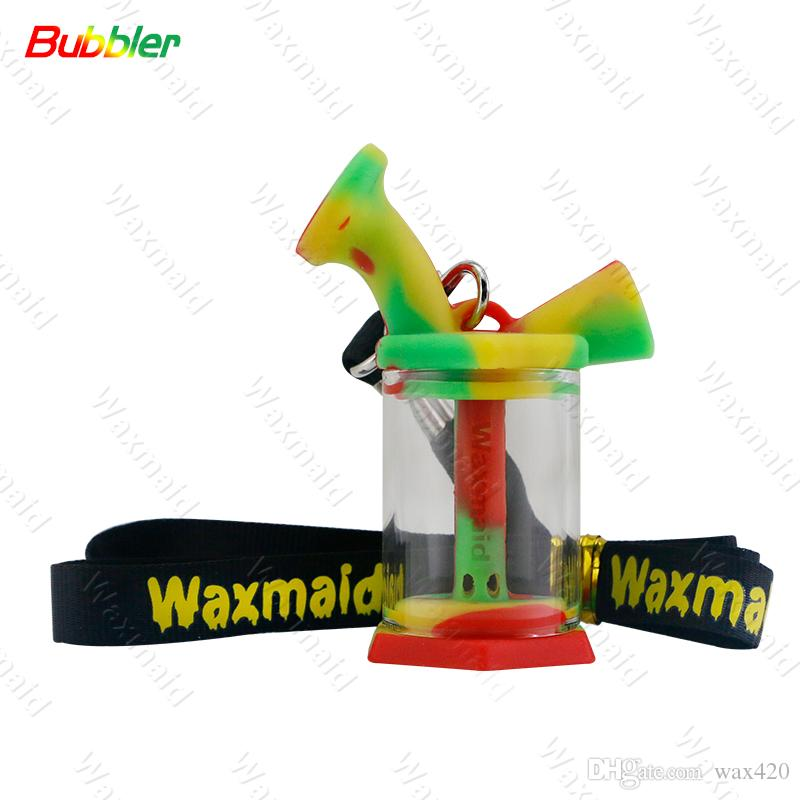 Silicone Bong Dab Rig Smoking Hand Pipe Mini Recycle Bubbler Water Pipe Smoking Dry Herb Hookah Dropshipping