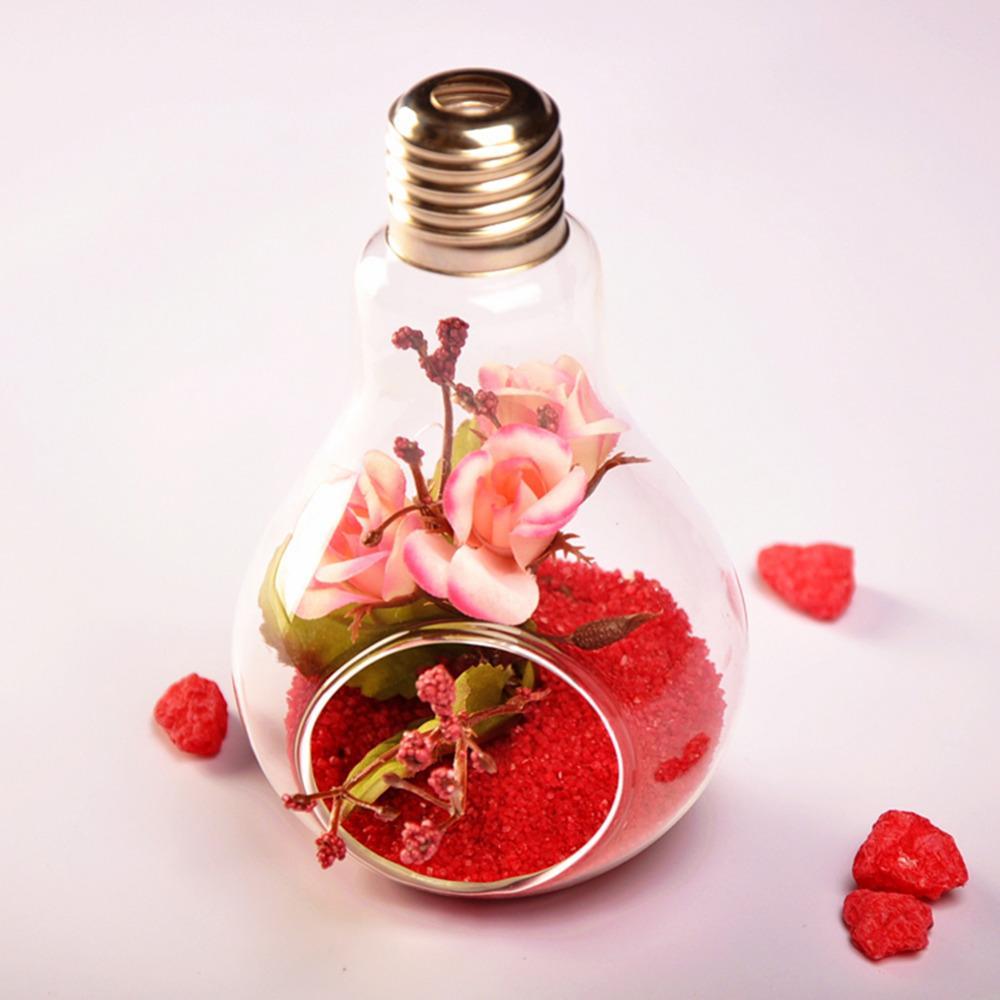 10pcs 유리 전구 램프 모양 꽃 물 식물 교수형 꽃병 컨테이너 홈 실내 오피스 웨딩 장식 (끈없이)