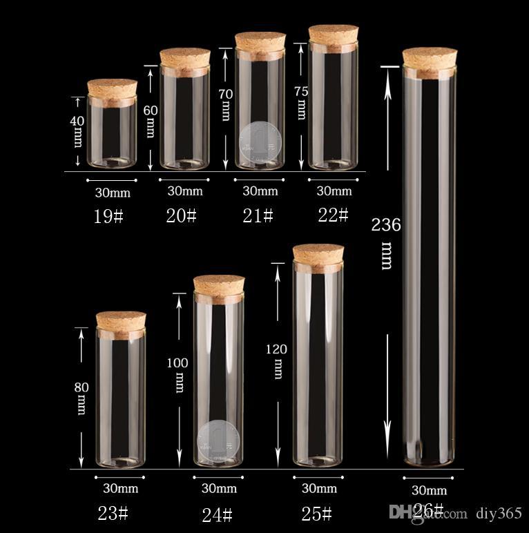 15 ~ 120ml Tappo di sughero Vasi di vetro Vasi trasparenti Bottiglia di provetta Bung Artigianato Bottiglia di semi di sementi