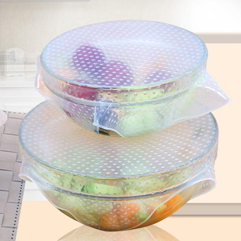 New-4pcs-Multifunctional-Food-Fresh-Keeping-Saran-Wrap-Kitchen-Tools-Reusable-Silicone-Food-Wraps-Seal-Vacuum