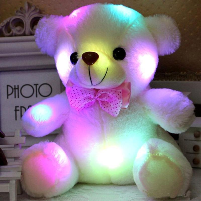 Colorful LED Flash Light Bear Doll Plush Animals Stuffed Toys Size 20cm - 22cm Bear Gift For Children Christmas Gift Stuffed Plush toy a
