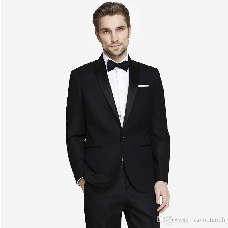 Men Suits 2018 Black Peaked Lapel Fashion Custom Made Wedding Suits For Man Bridegroom Tuxedos Blazer Slim Fit Formal Best Man Prom 2Piece