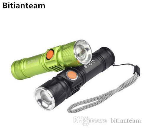 3800LM USB Handy T6 LED Torch usb Flaş Işık Cep Avcılık Için LED Şarj Edilebilir El Feneri Zumlanabilir Lamba