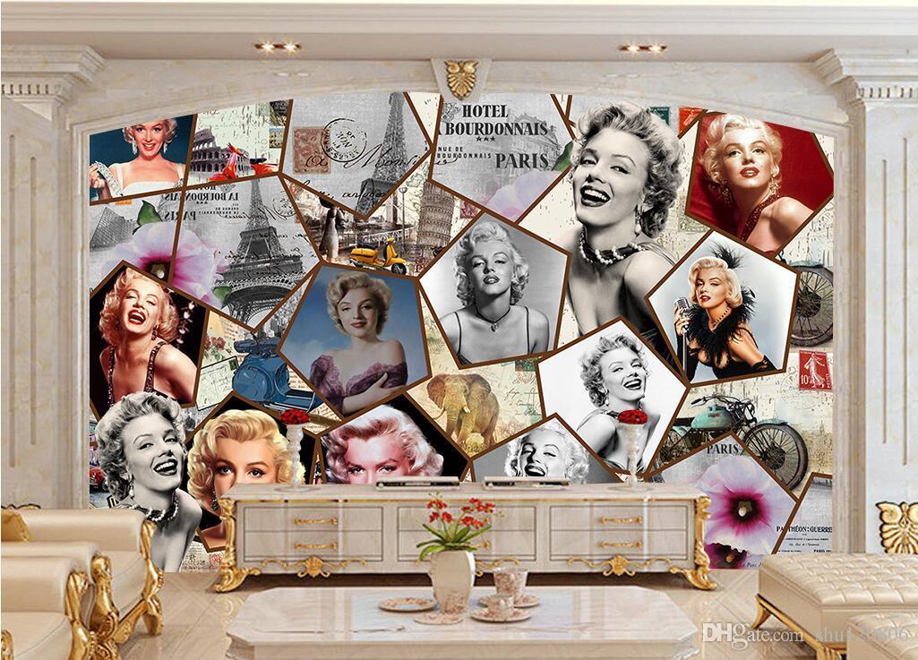 3d fondo de pantalla personalizado foto Marilyn Monroe sexy belleza estrella de fondo pared decoración para el hogar 3d murales de pared fondo de pantalla para las paredes 3 d sala de estar