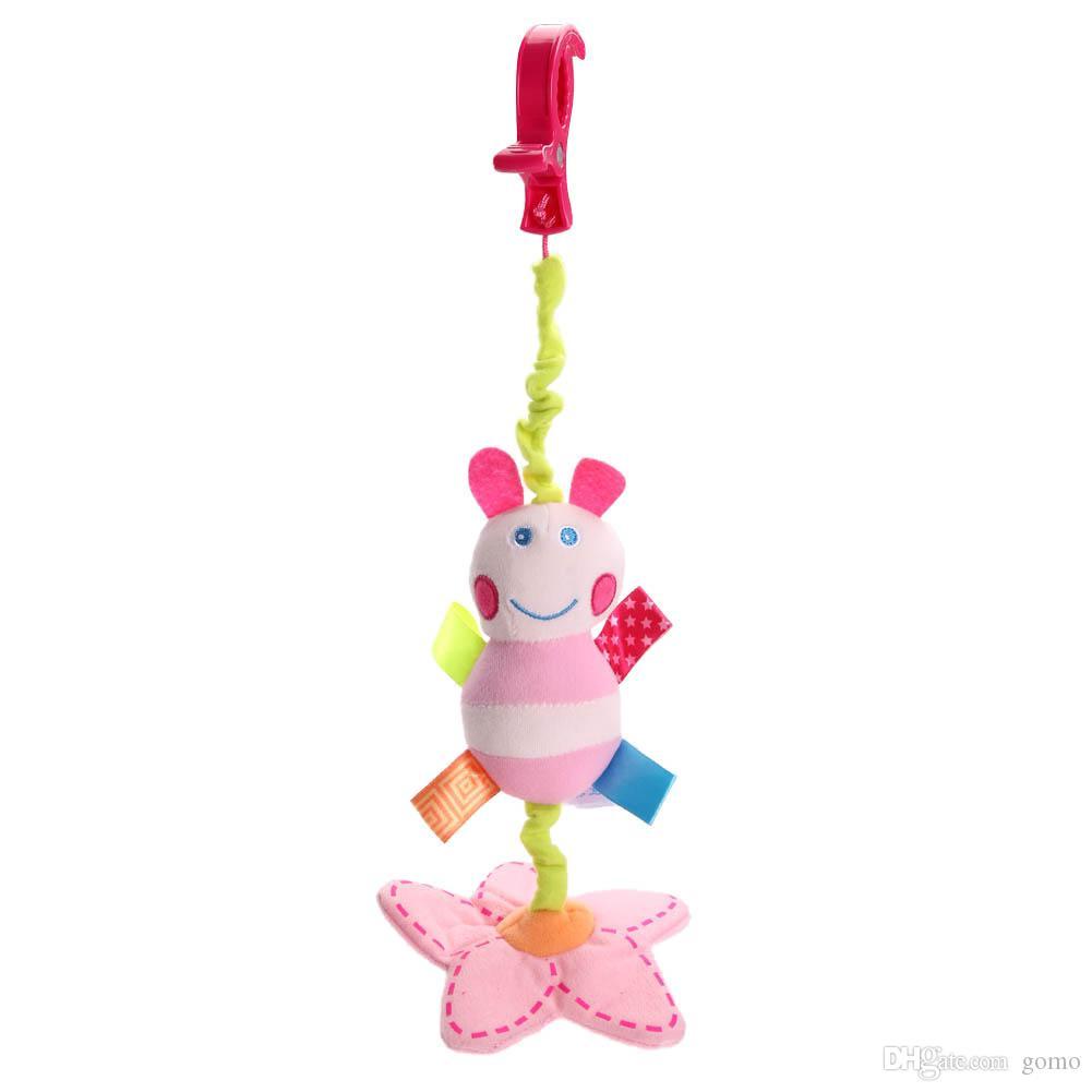 Cor rosa Animal Abelha Bebê Recém-nascido Chocalhos Berço Carrinho De Criança Cama Torno Pendurado Brinquedos de Pelúcia Do Bebê Dos Desenhos Animados Bonito Crianças Brinquedos Musicais