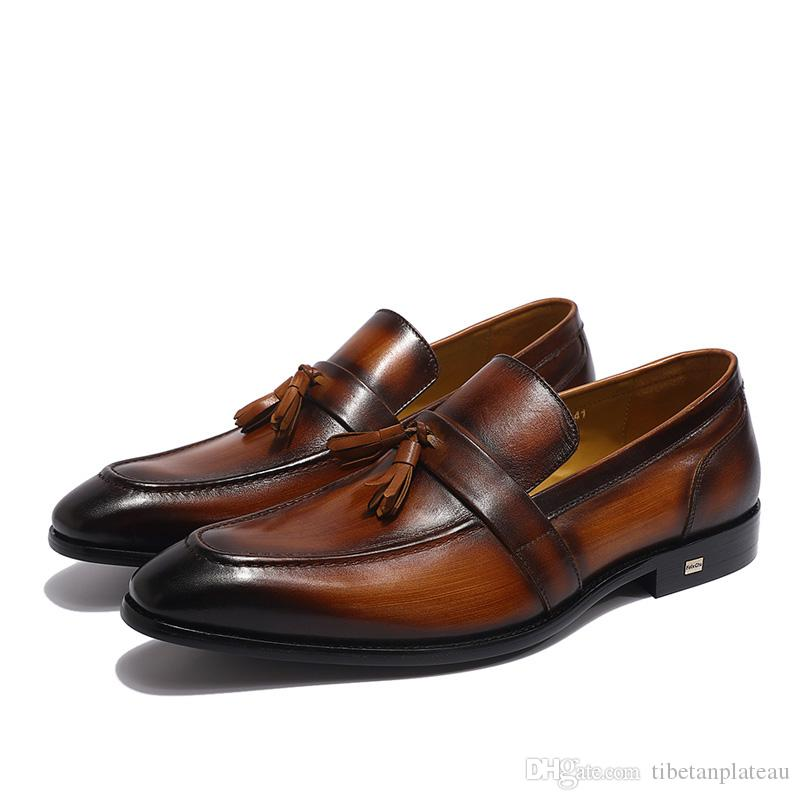 Handmade Painted Mens Brown Tassel Loafers Genuine Calf Leather Pointed toe Male Wedding Dress Shoes Casual Footwear