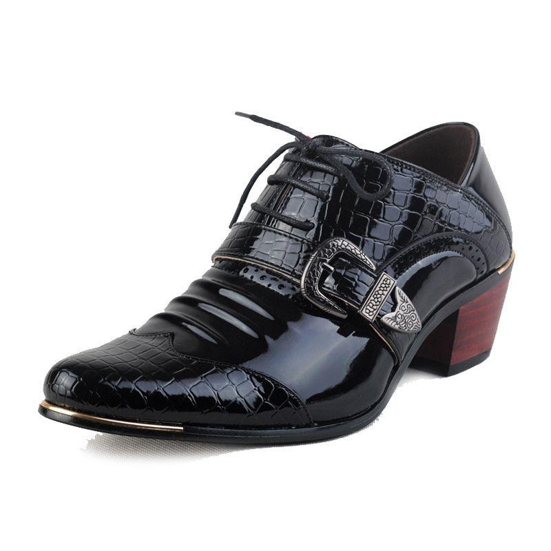 el más nuevo 88b91 1006d Compre Hombres De Lujo Zapatos Formales Zapatos De Tacón Alto Zapatos De  Vestir De Negocios Oxfords Puntiagudos Oxford Zapatos Para Hombres Zapatos  De ...