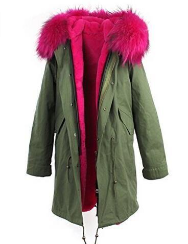 Long style ROSE raccoon fur trim Jazzevar brand rose 100% rabbit fur lining army green canvas jackets snow fur parkas Australia new Zealand
