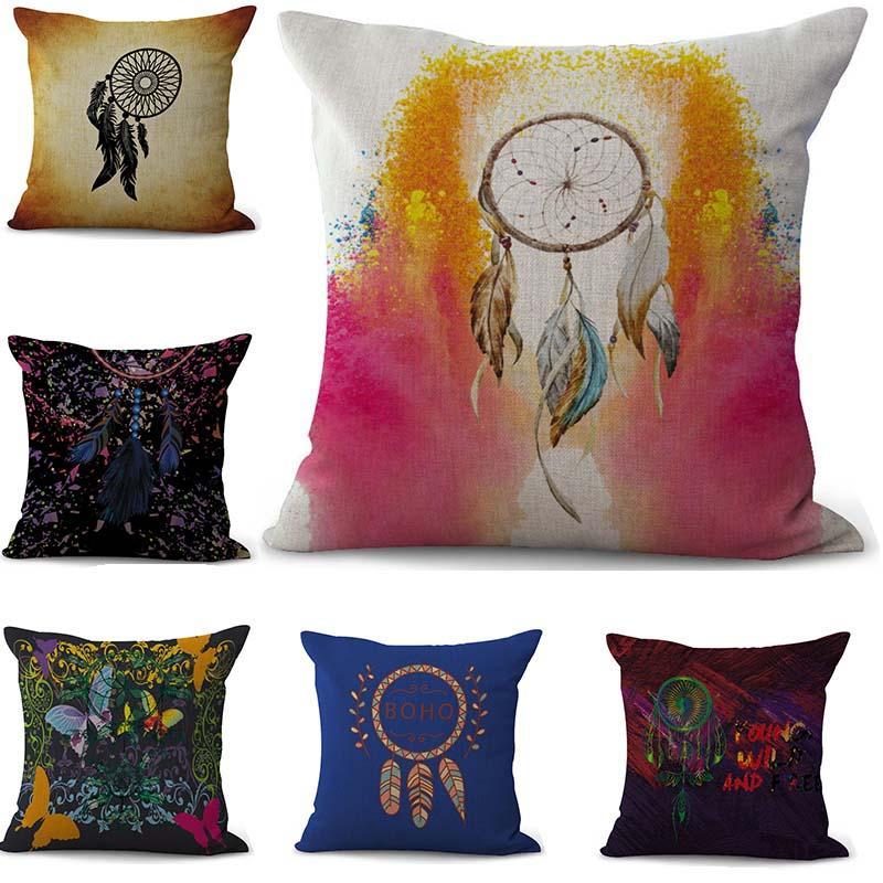 Federa per cuscino da sogno Paiting colorato Fodera per cuscino in cotone e lino Copri federa quadrata Decorativa per la casa Nave da lancio 300816