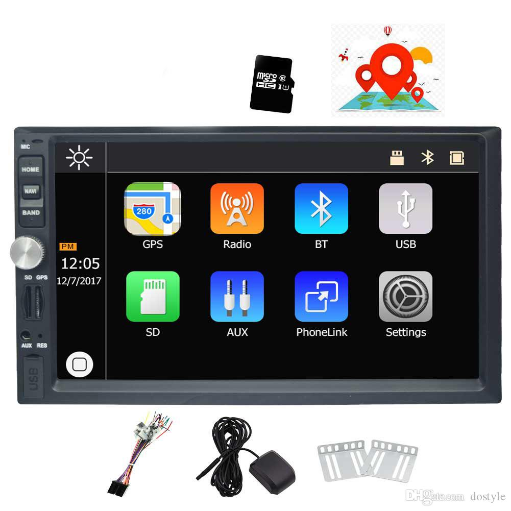 7'' Double Din Car Stereo Win CE Operation System Touch Screen Car DVD Player GPS Navigation Bluetooth Mirror-Link Rear View Camera AM/FM