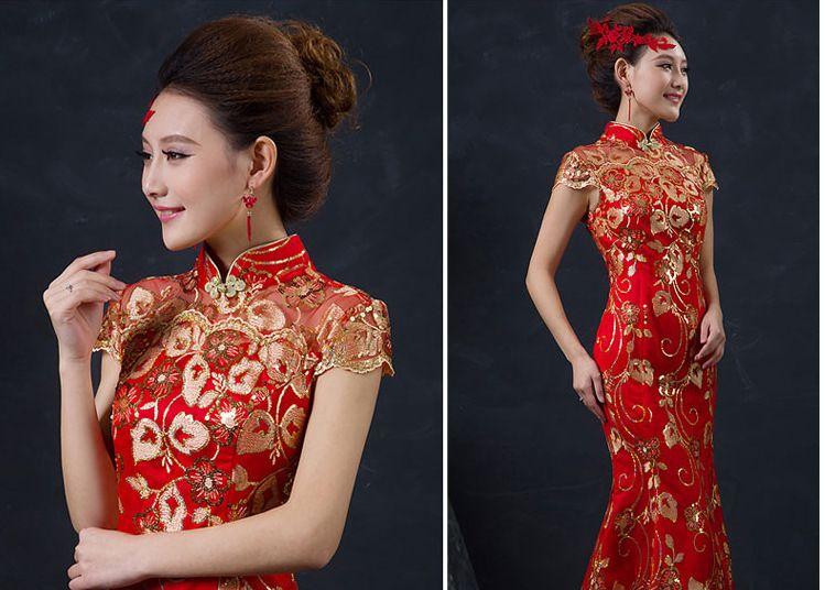 Red Chinese Wedding Dress Female Long Short Sleeve Cheongsam Gold Slim Chinese Traditional Dress Women Qipao party cheongsams