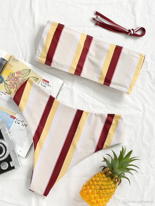 Bikini Zestaw Kobiety Summer Swimwear Striped Biquini Sexy Beach Dwa Kawałki Kostium Kąpielowy Push Up Boob Tube Top Bikini