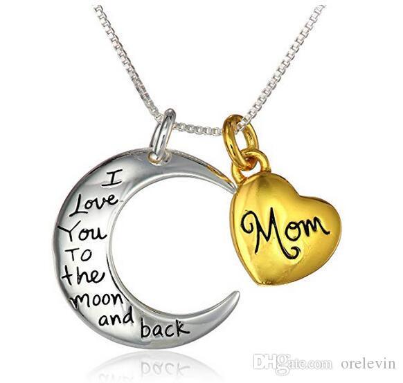 """Deux tons """"maman je t'aime jusqu'à la lune et retour"""" pendentif ensemble de deux colliers cadeau pour mère Daugther, 18 """", 20Piece / Lot, LN901"""